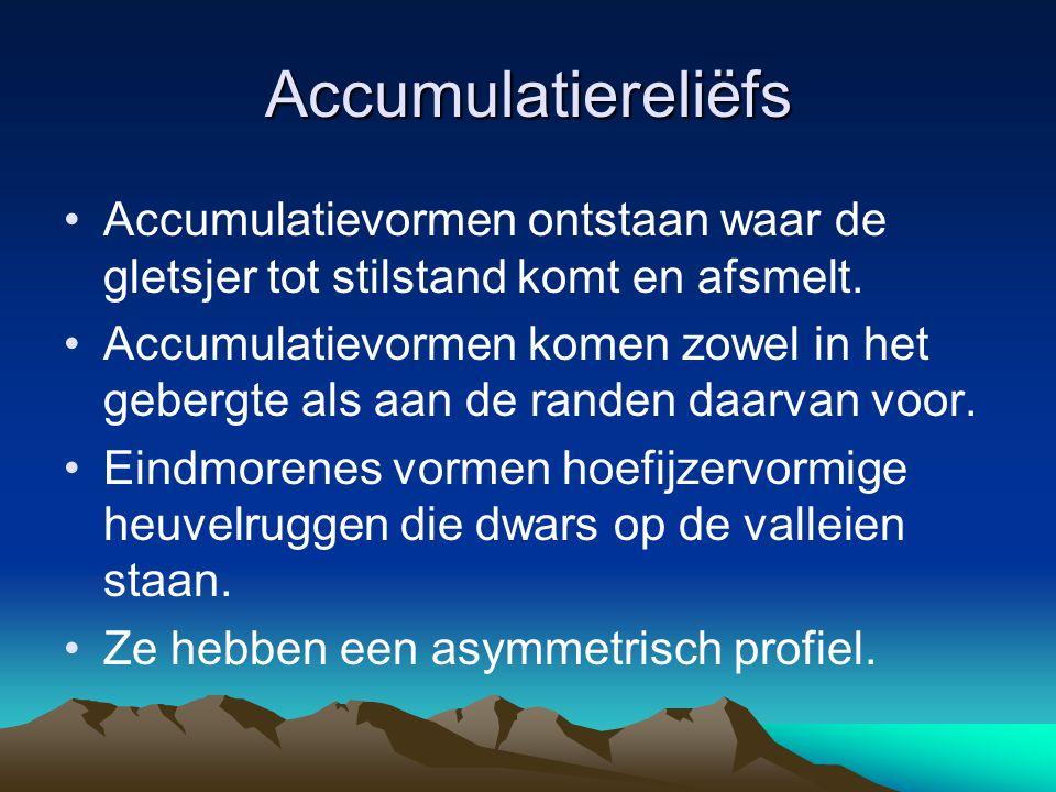 Accumulatiereliëfs Accumulatievormen ontstaan waar de gletsjer tot stilstand komt en afsmelt.