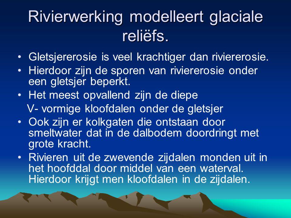 Rivierwerking modelleert glaciale reliëfs.
