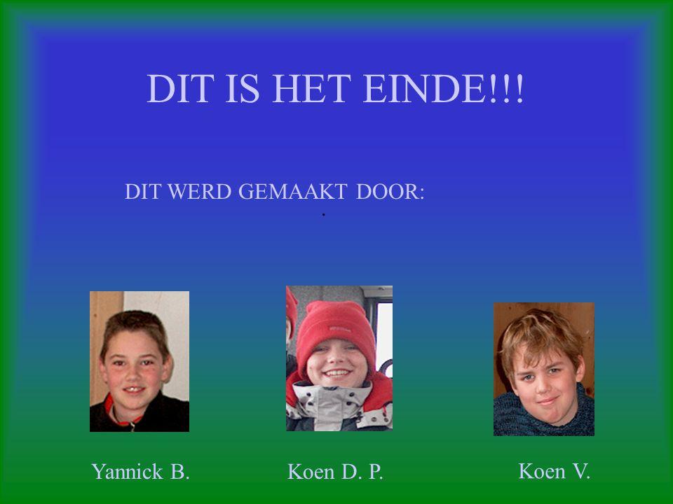 DIT IS HET EINDE!!! DIT WERD GEMAAKT DOOR: . Yannick B. Koen D. P.
