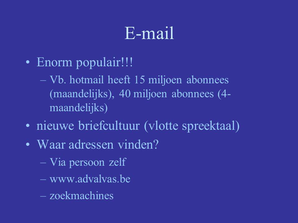E-mail Enorm populair!!! nieuwe briefcultuur (vlotte spreektaal)