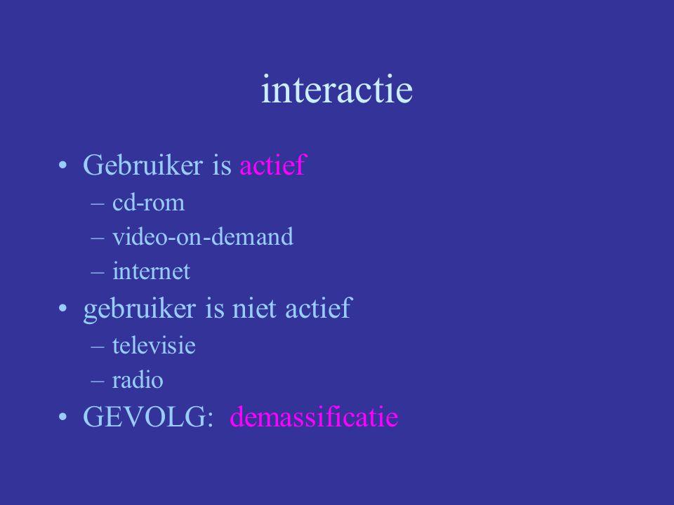 interactie Gebruiker is actief gebruiker is niet actief