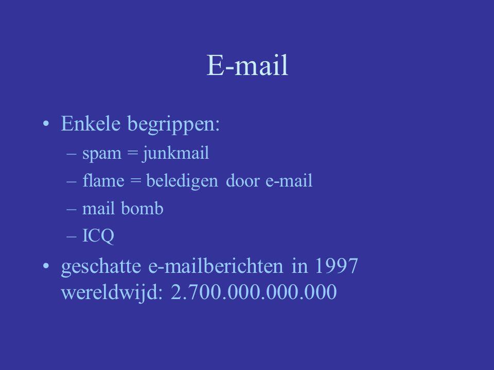 E-mail Enkele begrippen: