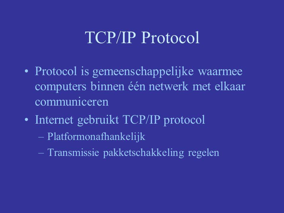 TCP/IP Protocol Protocol is gemeenschappelijke waarmee computers binnen één netwerk met elkaar communiceren.