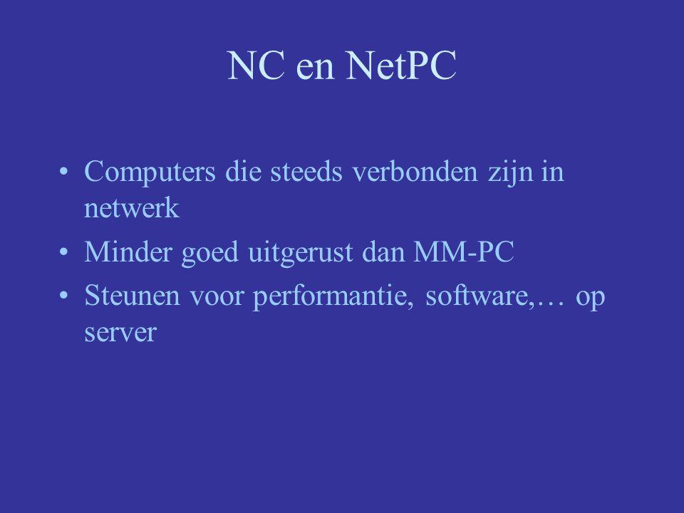 NC en NetPC Computers die steeds verbonden zijn in netwerk