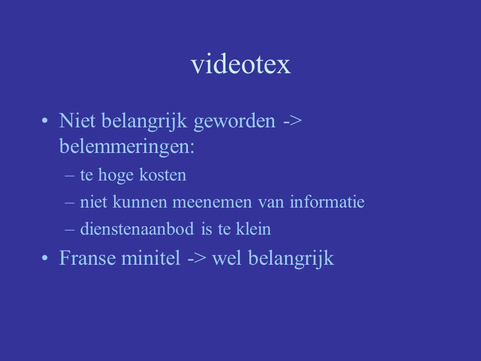 videotex Niet belangrijk geworden -> belemmeringen:
