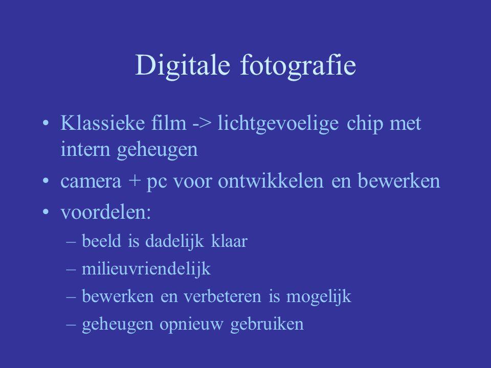 Digitale fotografie Klassieke film -> lichtgevoelige chip met intern geheugen. camera + pc voor ontwikkelen en bewerken.