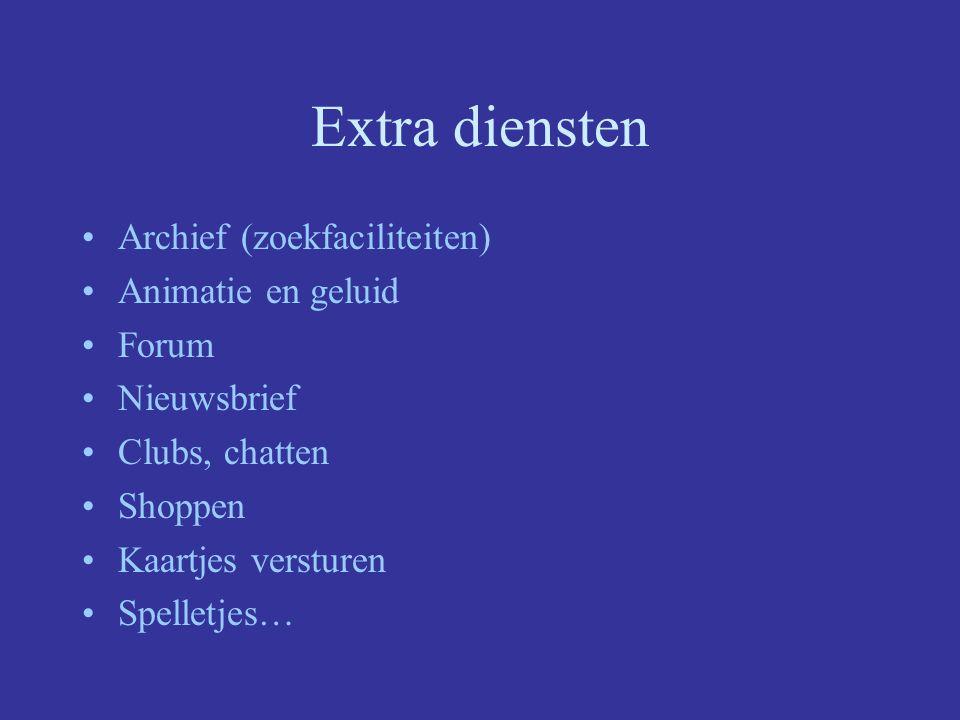 Extra diensten Archief (zoekfaciliteiten) Animatie en geluid Forum