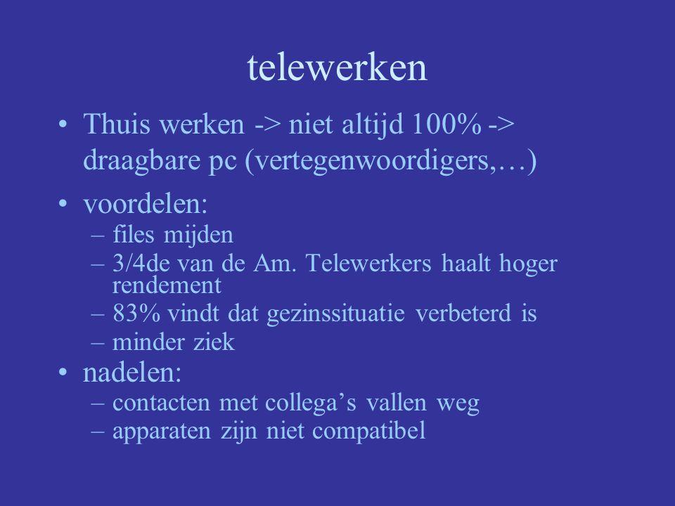 telewerken Thuis werken -> niet altijd 100% -> draagbare pc (vertegenwoordigers,…) voordelen: files mijden.
