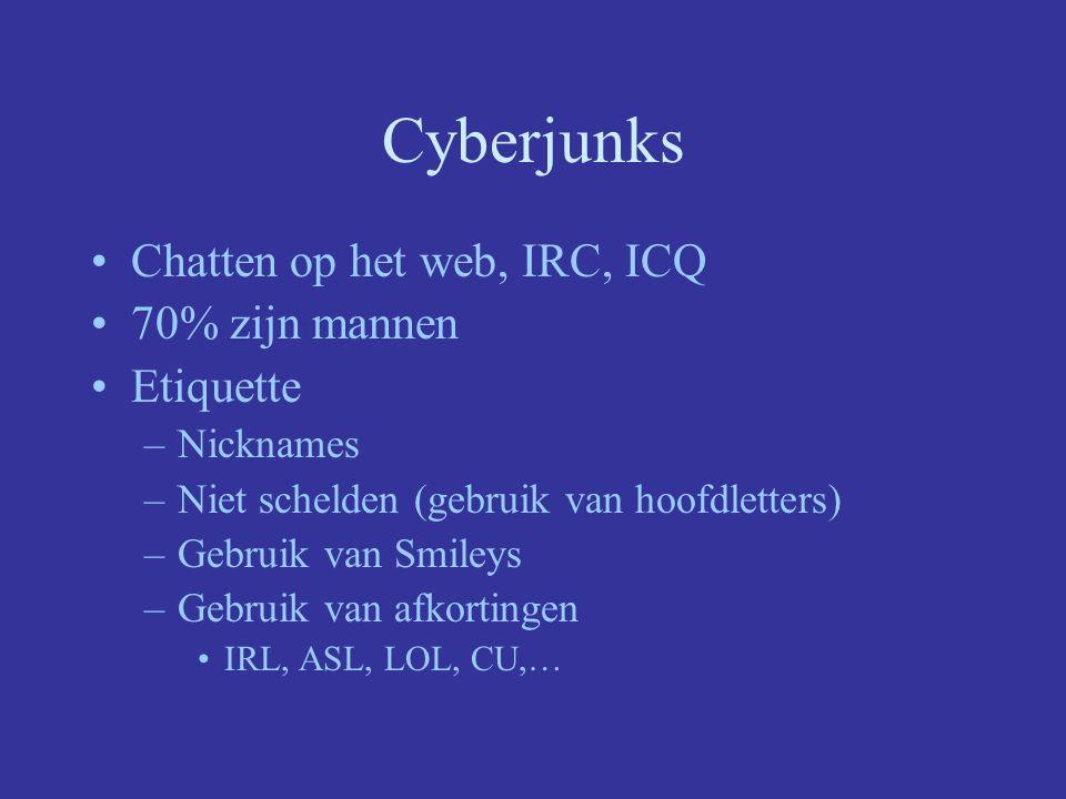 Cyberjunks Chatten op het web, IRC, ICQ 70% zijn mannen Etiquette
