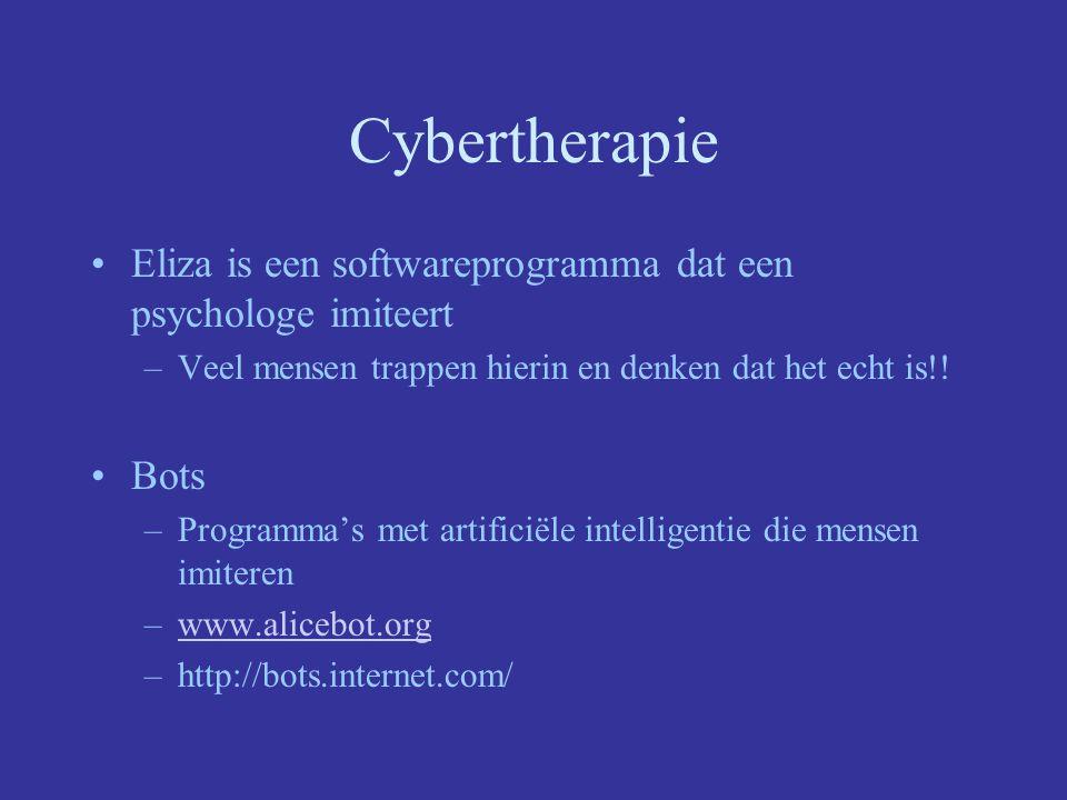 Cybertherapie Eliza is een softwareprogramma dat een psychologe imiteert. Veel mensen trappen hierin en denken dat het echt is!!