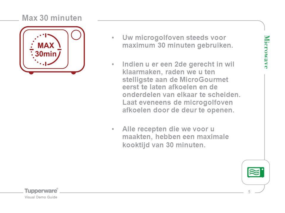 Max 30 minuten Uw microgolfoven steeds voor maximum 30 minuten gebruiken.