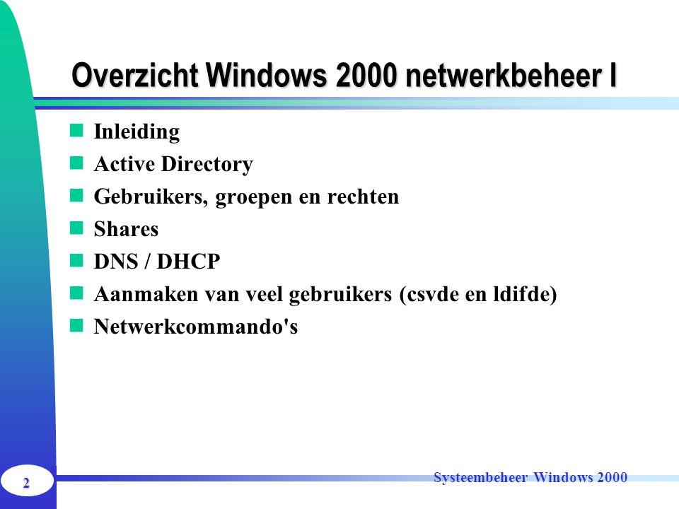 Overzicht Windows 2000 netwerkbeheer I