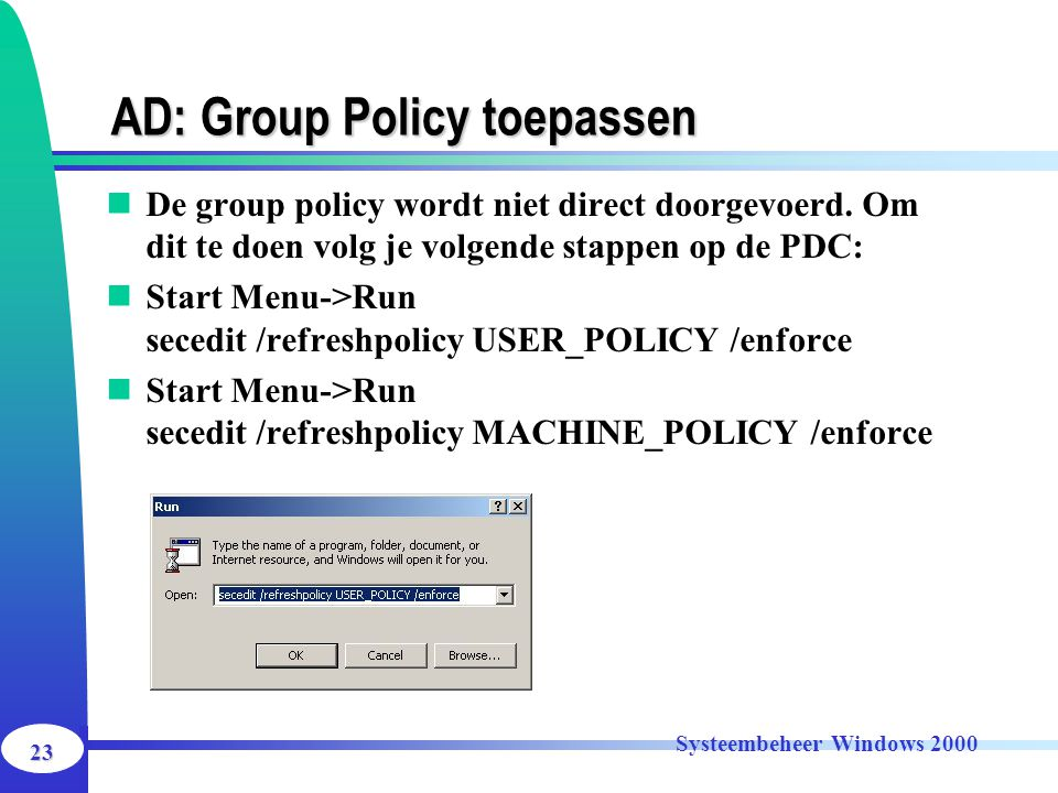 AD: Group Policy toepassen