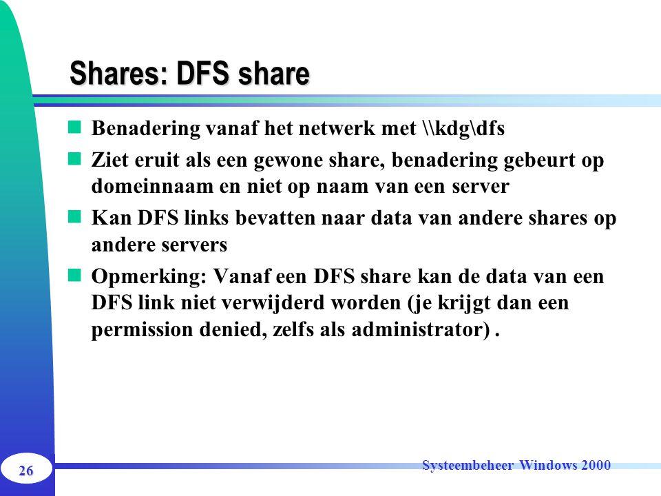 Shares: DFS share Benadering vanaf het netwerk met \\kdg\dfs