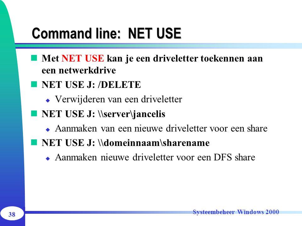 Command line: NET USE Met NET USE kan je een driveletter toekennen aan een netwerkdrive. NET USE J: /DELETE.