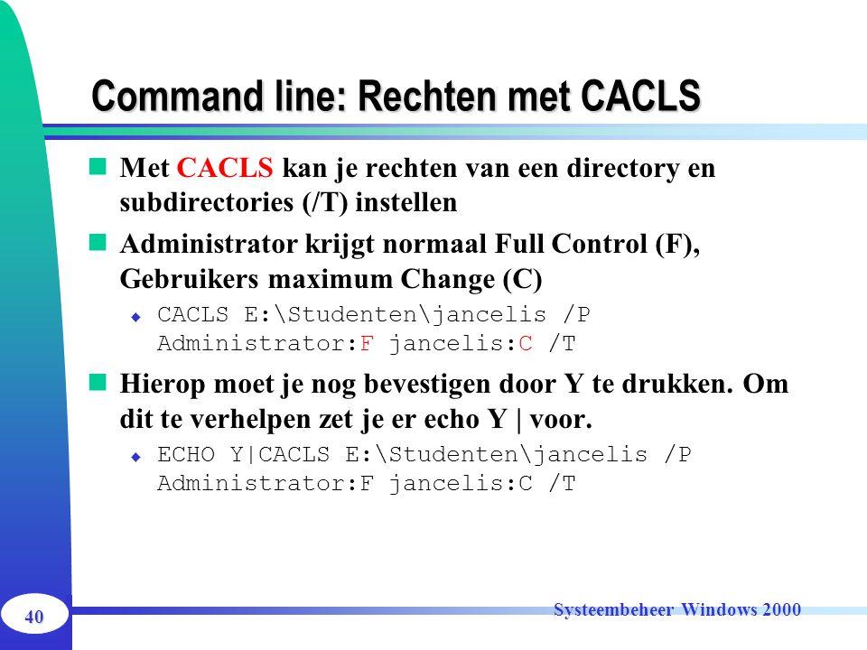 Command line: Rechten met CACLS