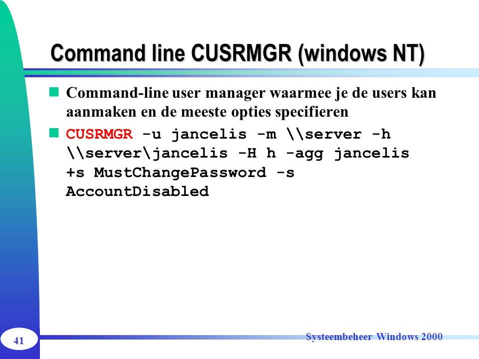 Command line CUSRMGR (windows NT)
