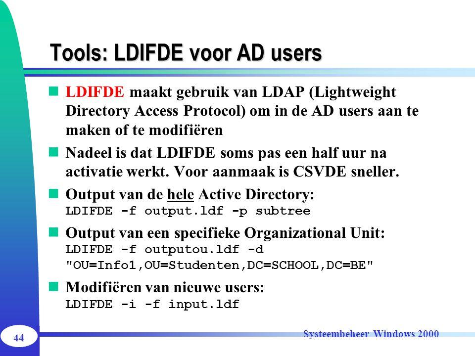 Tools: LDIFDE voor AD users