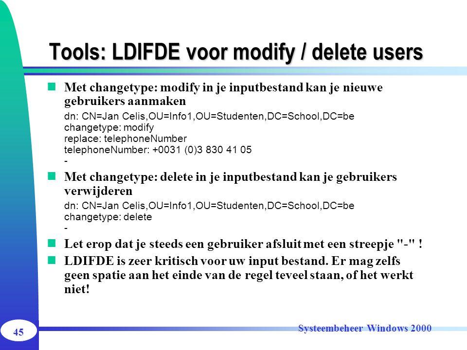 Tools: LDIFDE voor modify / delete users