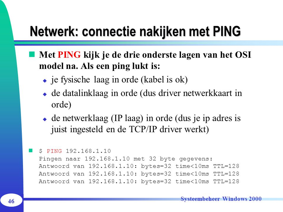 Netwerk: connectie nakijken met PING
