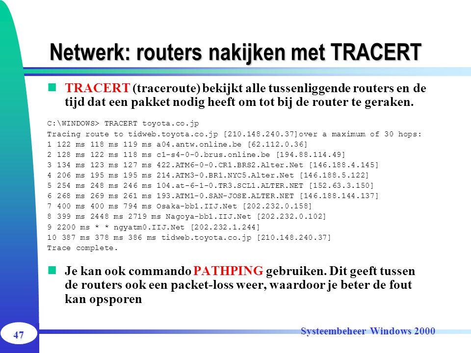 Netwerk: routers nakijken met TRACERT