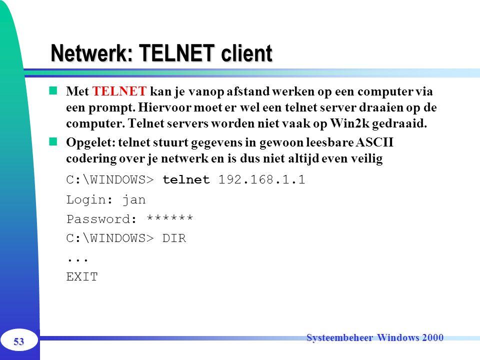 Netwerk: TELNET client