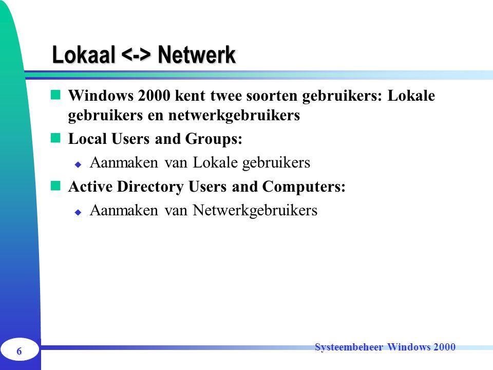 Lokaal <-> Netwerk