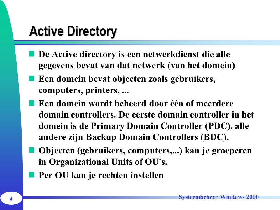 Active Directory De Active directory is een netwerkdienst die alle gegevens bevat van dat netwerk (van het domein)