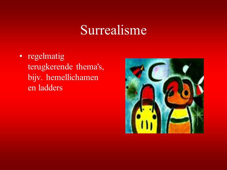 Surrealisme regelmatig terugkerende thema s, bijv. hemellichamen en ladders