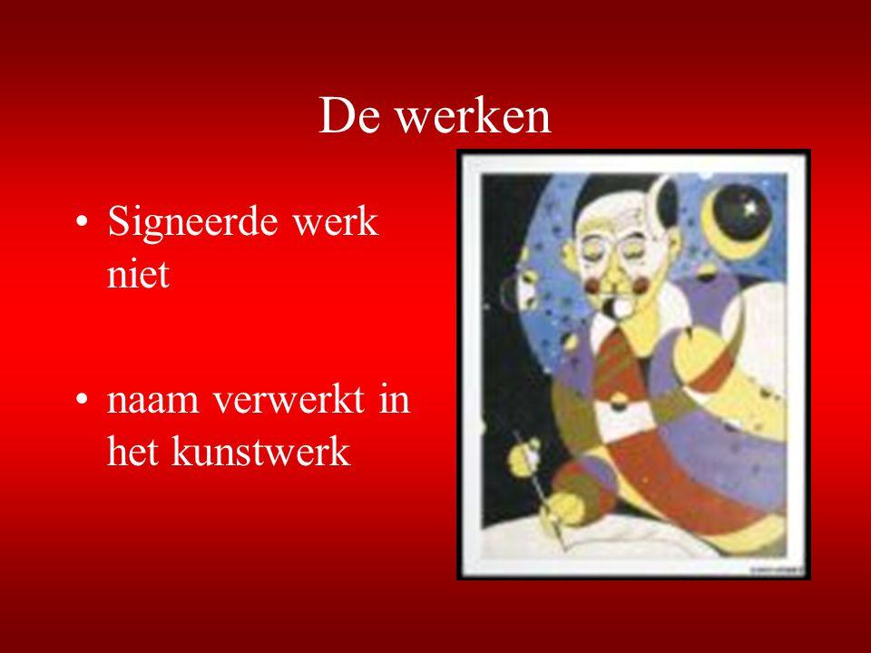 De werken Signeerde werk niet naam verwerkt in het kunstwerk