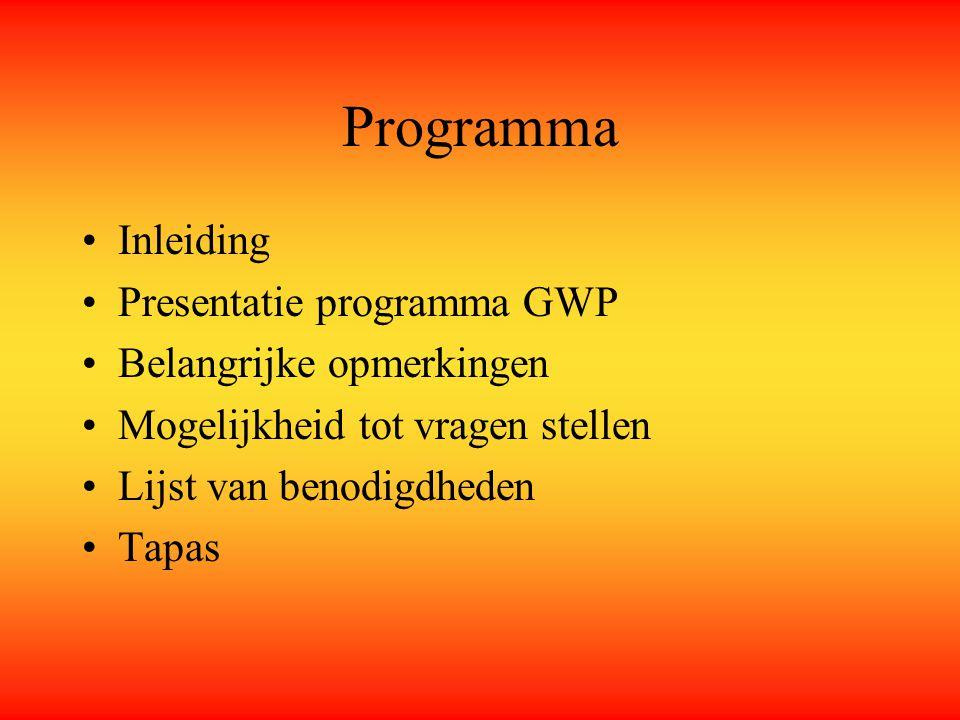 Programma Inleiding Presentatie programma GWP Belangrijke opmerkingen