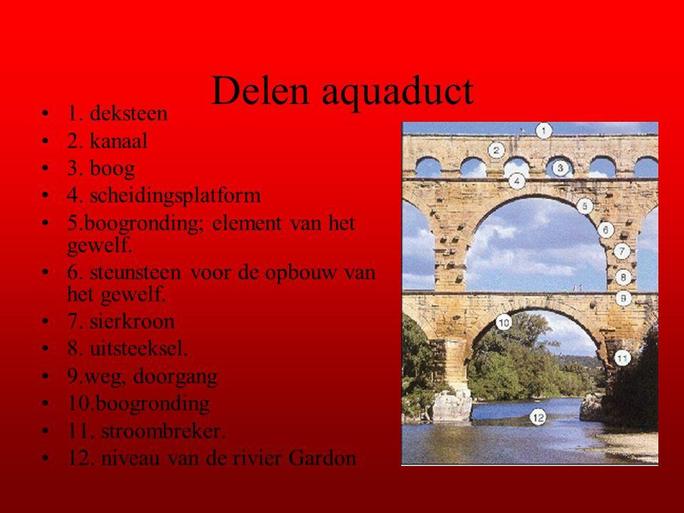 Delen aquaduct 1. deksteen 2. kanaal 3. boog 4. scheidingsplatform