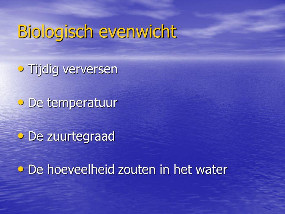 Biologisch evenwicht Tijdig verversen De temperatuur De zuurtegraad