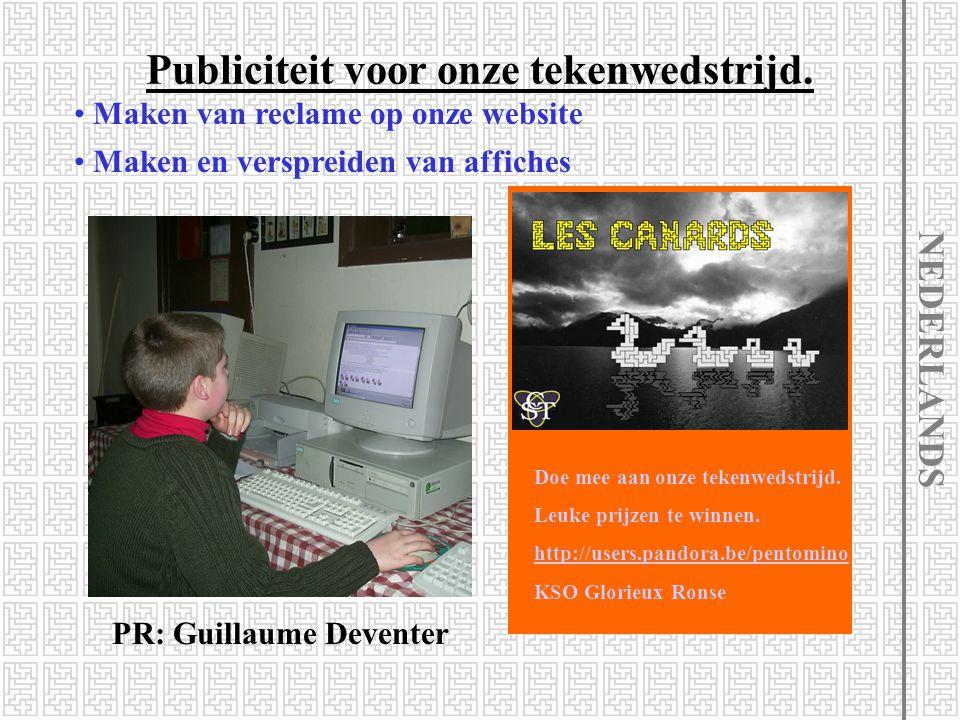 Publiciteit voor onze tekenwedstrijd. PR: Guillaume Deventer