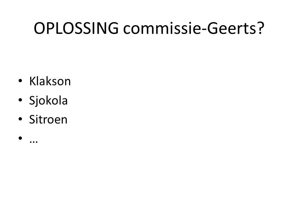 OPLOSSING commissie-Geerts