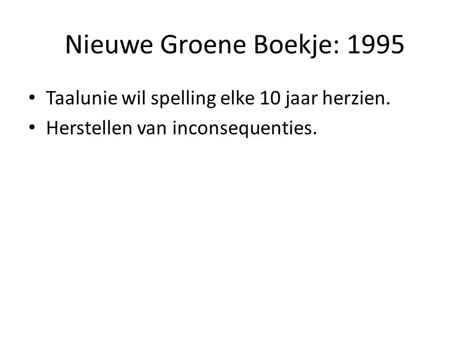 Nieuwe Groene Boekje: 1995 Taalunie wil spelling elke 10 jaar herzien.