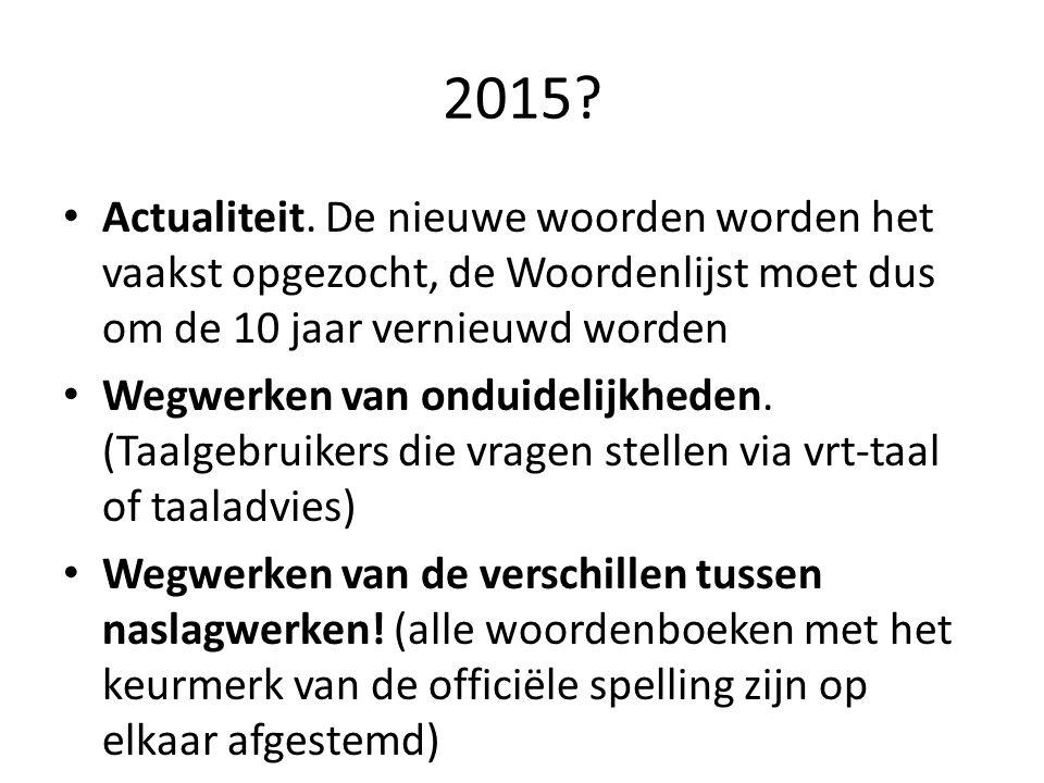 2015 Actualiteit. De nieuwe woorden worden het vaakst opgezocht, de Woordenlijst moet dus om de 10 jaar vernieuwd worden.