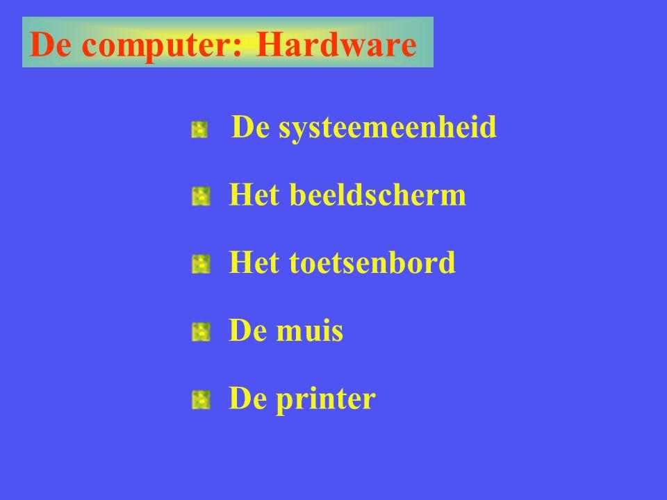 De computer: Hardware Het beeldscherm Het toetsenbord De muis