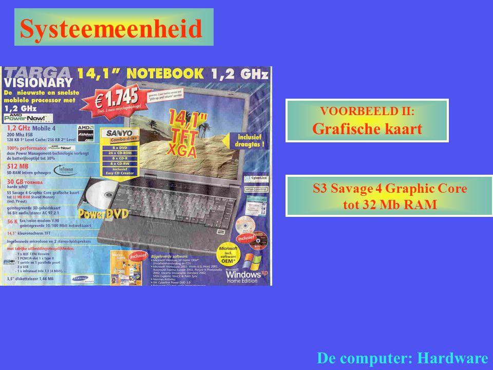 VOORBEELD II: Grafische kaart S3 Savage 4 Graphic Core tot 32 Mb RAM
