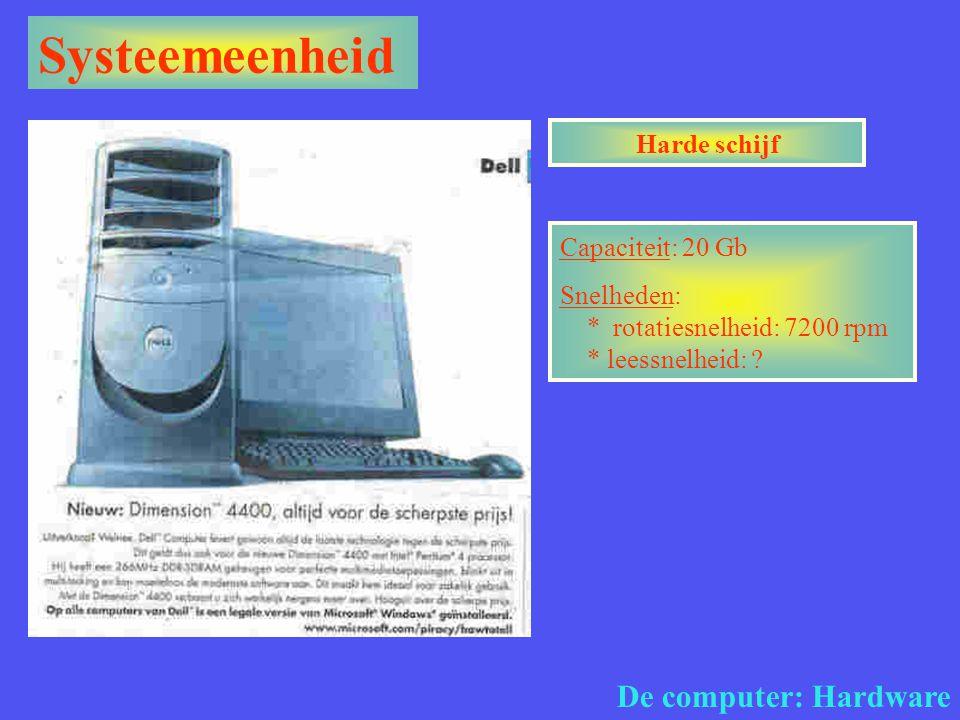 Systeemeenheid De computer: Hardware Harde schijf Capaciteit: 20 Gb