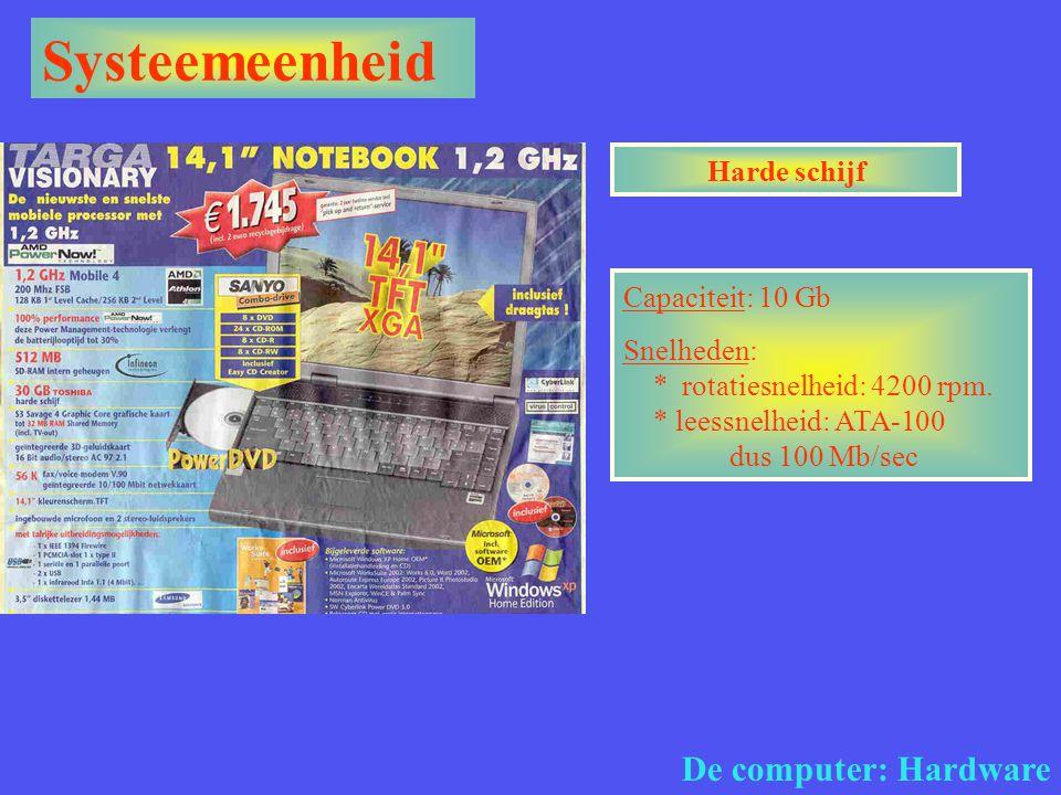 Systeemeenheid De computer: Hardware Harde schijf Capaciteit: 10 Gb