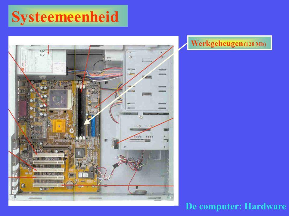 Systeemeenheid De computer: Hardware Werkgeheugen (128 Mb)