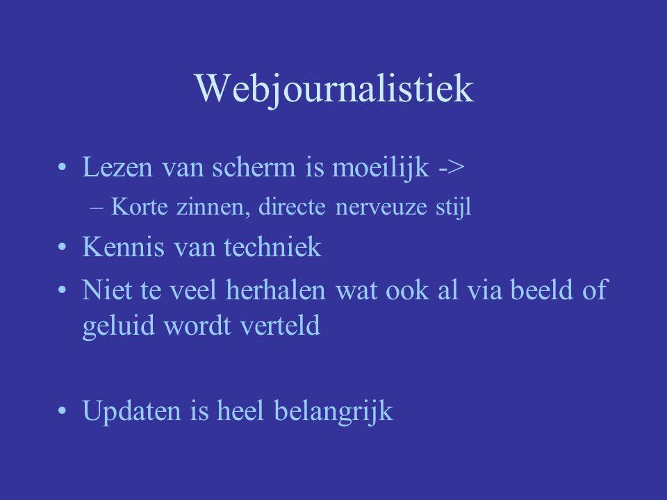 Webjournalistiek Lezen van scherm is moeilijk ->