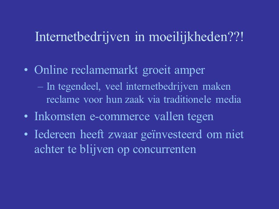 Internetbedrijven in moeilijkheden !