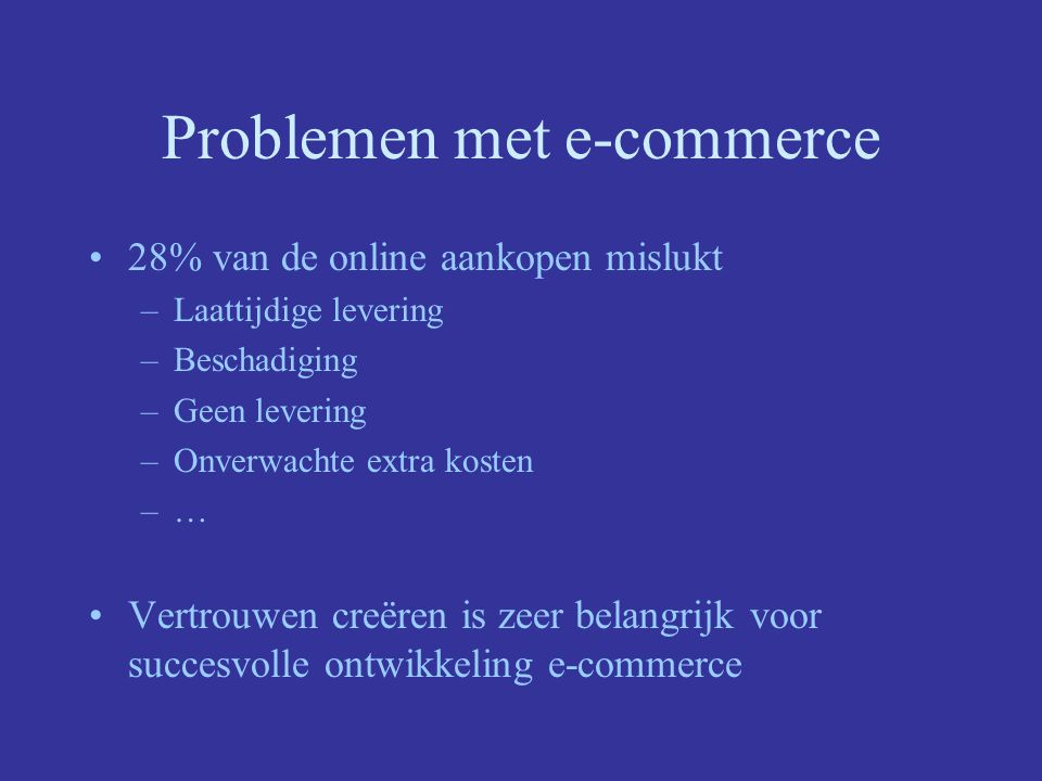 Problemen met e-commerce