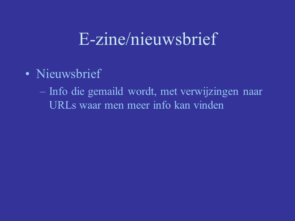 E-zine/nieuwsbrief Nieuwsbrief