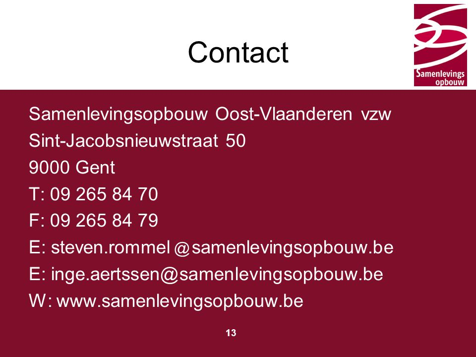 Contact Samenlevingsopbouw Oost-Vlaanderen vzw