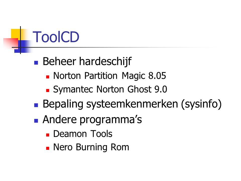 ToolCD Beheer hardeschijf Bepaling systeemkenmerken (sysinfo)