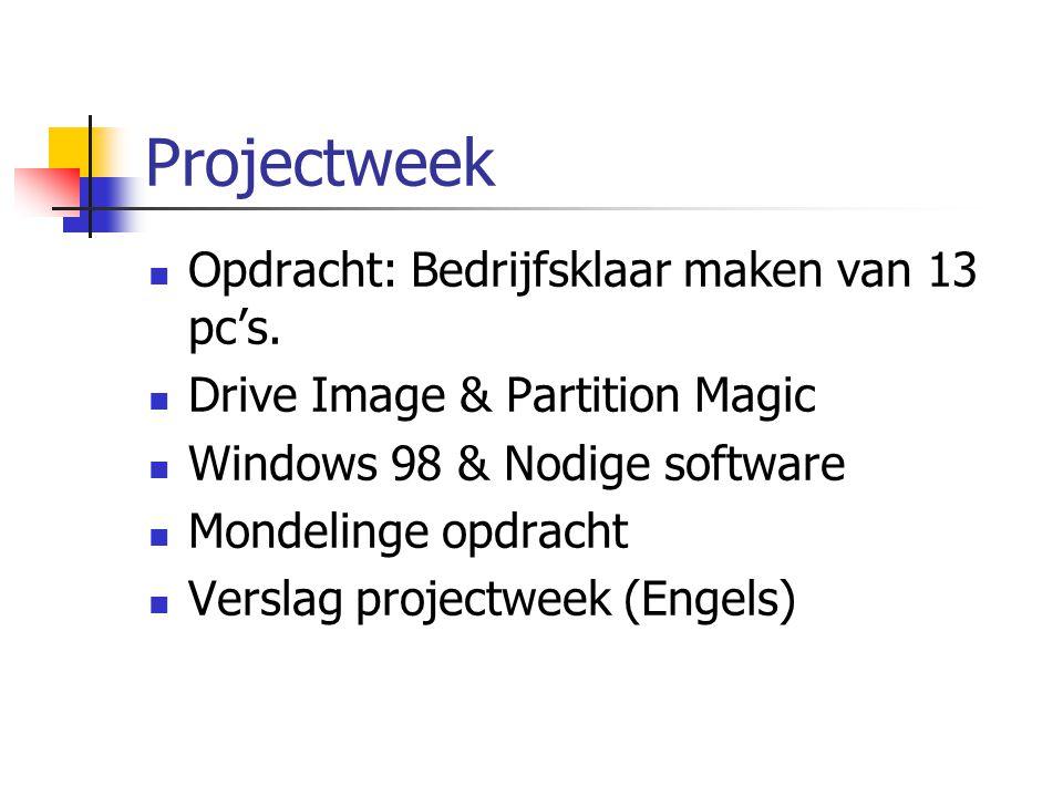 Projectweek Opdracht: Bedrijfsklaar maken van 13 pc's.