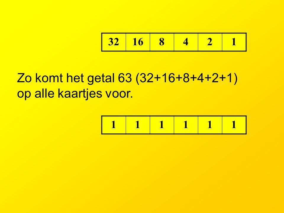 Zo komt het getal 63 (32+16+8+4+2+1) op alle kaartjes voor.